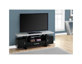 "MONARCH TV Stand - 60""L / BLACK / CEMENT-LOOK TOP"
