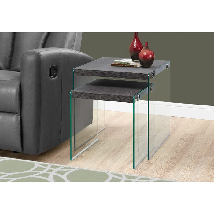 MONARCH Nesting Table - 2PCS SET / GREY WITH TEMPERED GLASS