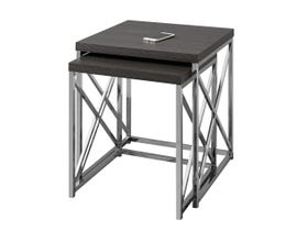 MONARCH Nesting Table - 2PCS SET / GREY WITH CHROME METAL