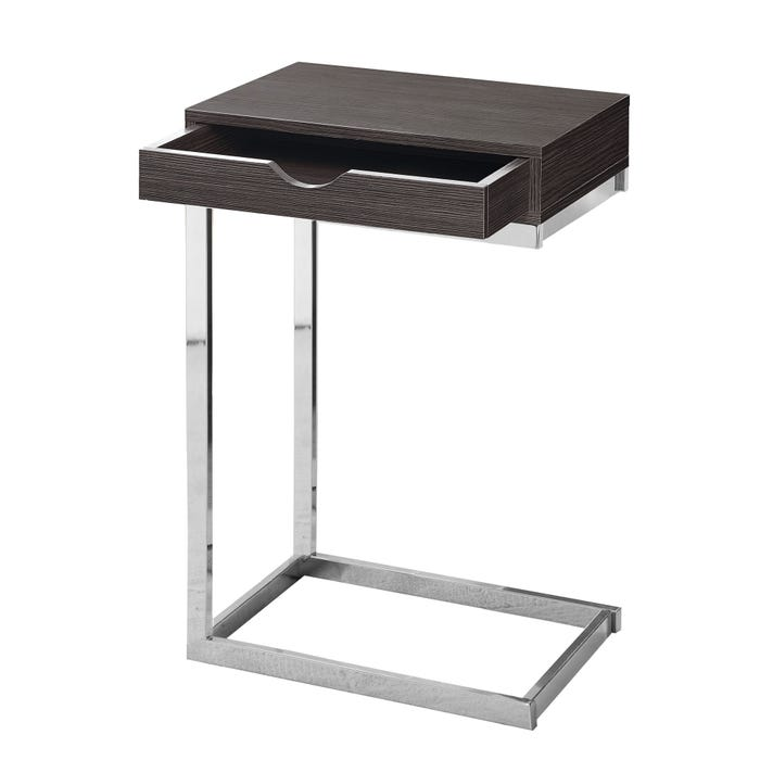 MONARCH Accent Table- CHROME METAL / GREY WITH A DRAWER