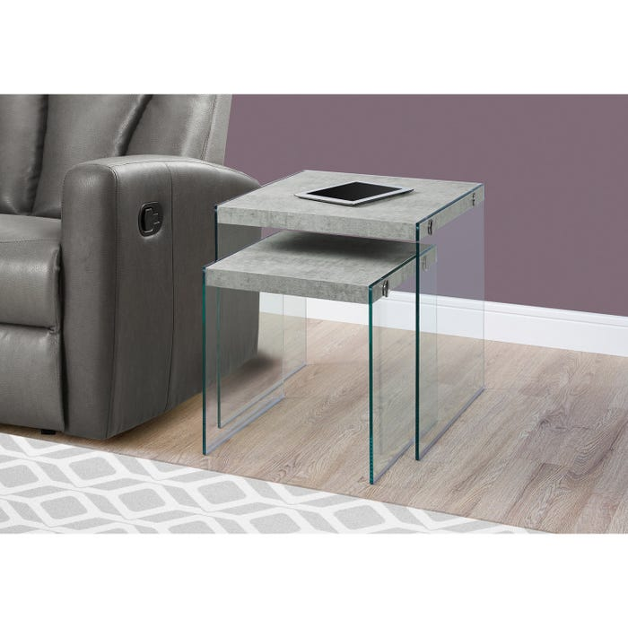 MONARCH Nesting Table - 2PCS SET / GREY CEMENT / TEMPERED GLASS