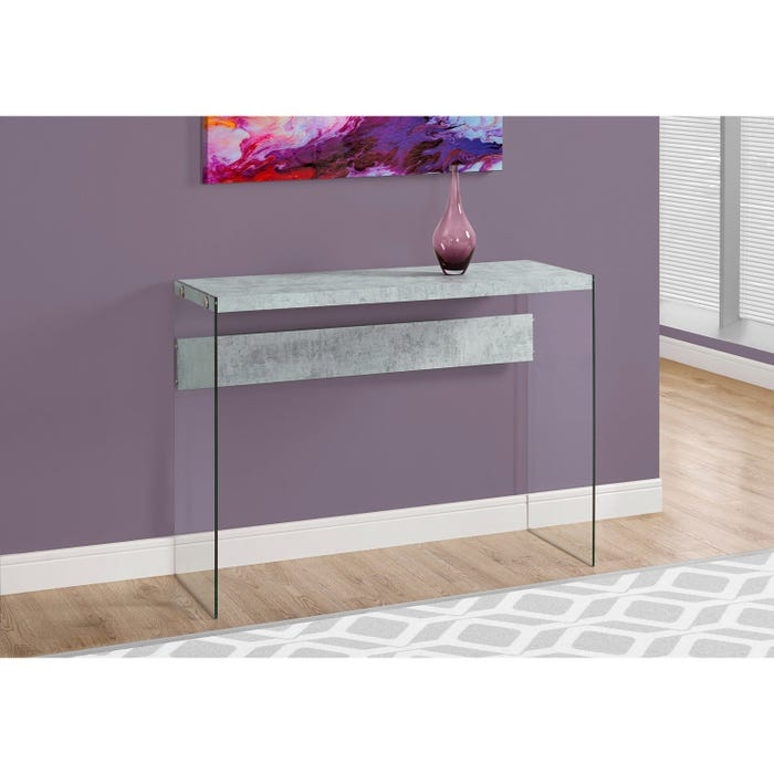 MONARCH Accent Table- GREY CEMENT WITH TEMPERED GLASS