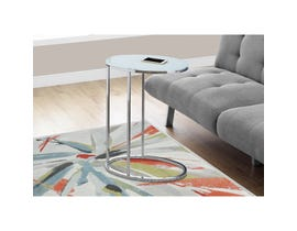 MONARCH Accent Table- OVAL / CHROME / FROSTED TEMPERED GLASS