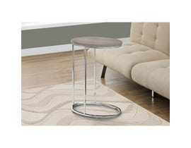 MONARCH Accent Table- OVAL / DARK TAUPE WITH CHROME METAL