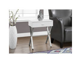 MONARCH Accent Table- GLOSSY WHITE / CHROME METAL NIGHT STAND