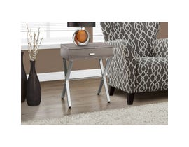 MONARCH Accent Table- DARK TAUPE / CHROME METAL NIGHT STAND