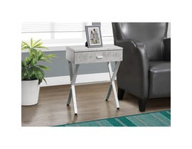 MONARCH Accent Table- GREY CEMENT / CHROME METAL NIGHT STAND