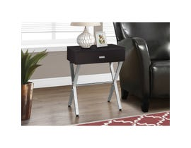 MONARCH Accent Table- CAPPUCCINO / CHROME METAL NIGHT STAND