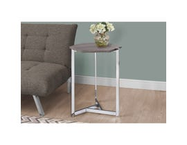MONARCH Accent Table- HEXAGON / DARK TAUPE / CHROME METAL