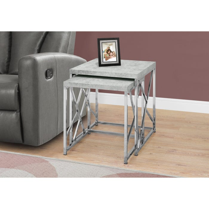MONARCH Nesting Table - 2PCS SET / GREY CEMENT WITH CHROME METAL