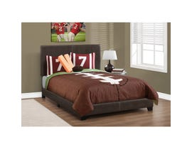 Monarch Leather Look Full Size Bed in Dark Brown
