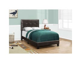 MONARCH Bed - TWIN SIZE / DARK BROWN LEATHER-LOOK