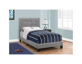 MONARCH Bed - TWIN SIZE / GREY LEATHER-LOOK