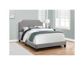 MONARCH Bed - FULL SIZE / GREY LINEN WITH CHROME TRIM