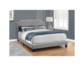 MONARCH Bed - QUEEN SIZE / GREY LINEN WITH CHROME TRIM