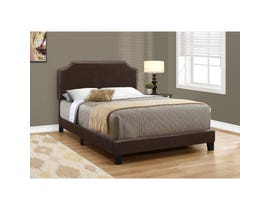 MONARCH Bed - FULL SIZE / DARK BROWN LEATHER-LOOK WITH BRASS TRIM