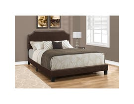MONARCH Bed - QUEEN SIZE/DARK BROWN LEATHER-LOOK WITH BRASS TRIM