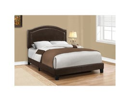 MONARCH Bed - FULL SIZE / BROWN LEATHER-LOOK WITH BRASS TRIM