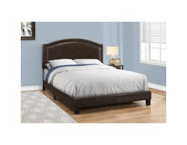 MONARCH Bed - QUEEN SIZE / BROWN LEATHER-LOOK WITH BRASS TRIM