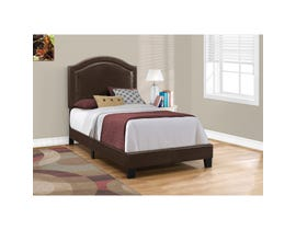 MONARCH Bed - TWIN SIZE / BROWN LEATHER-LOOK WITH BRASS TRIM