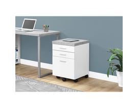 MONARCH FILING CABINET - 3 DRAWER / WHITE / CEMENT-LOOK ON CASTOR