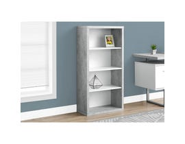 "MONARCH bookcase - 48""H / WHITE / CEMENT-LOOK WITH ADJ SHELVES"