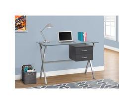 "MONARCH Computer Desk - 48""L / GREY / CHROME / TEMPERED GLASS"