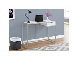 "MONARCH Computer Desk - 42""L / WHITE / SILVER METAL"