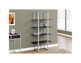"""MONARCH bookcase - 60""""H / CAPPUCCINO / SILVER METAL I7239"""