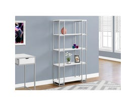 "MONARCH bookcase - 60""H / WHITE / SILVER METAL"