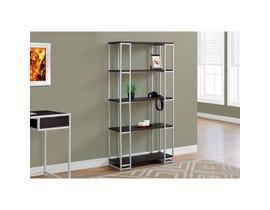 """MONARCH bookcase - 60""""H / CAPPUCCINO / SILVER METAL"""