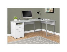 "MONARCH Computer Desk - 80""L WHITE / CEMENT-LOOK LEFT/RIGHT FACE"
