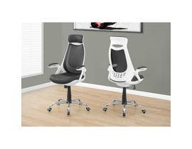 MONARCH Office Chair - WHITE / GREY MESH / CHROME HIGH-BACK EXEC