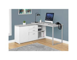 "MONARCH Computer Desk - 60""L WHITE / CEMENT-LOOK LEFT/RIGHT FACE"