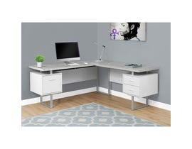 "MONARCH Computer Desk - 70""L WHITE / CEMENT-LOOK LEFT/RIGHT FACE"