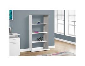"""MONARCH bookcase - 56""""H / WHITE / GREY I7355"""