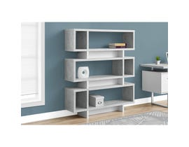 "MONARCH bookcase - 55""H / WHITE / CEMENT-LOOK MODERN STYLE"