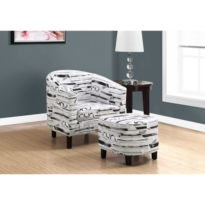 Monarch fabric 2-piece accent Chair in grey and black brush finish