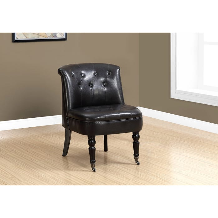 Monarch Accent Chair - TRADITIONAL STYLE DARK BROWN LEATHER-LOOK