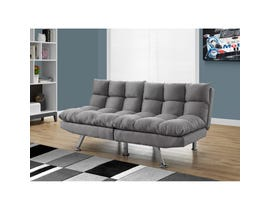 Monarch Futon SPLIT BACK CLICK CLACK in LIGHT GREY MICRO-SUEDE I8988