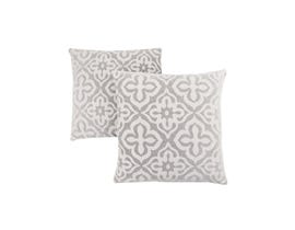 "Monarch Pillow  - 18""X 18"" / LIGHT GREY MOTIF DESIGN / 2PCS"