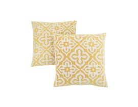 """Monarch Pillow  - 18""""X 18"""" / YELLOW MOTIF DESIGN / 2PCS"""