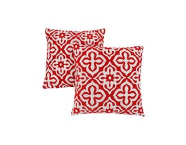 "Monarch Pillow  - 18""X 18"" / RED MOTIF DESIGN / 2PCS"