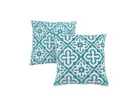 "Monarch Pillow  - 18""X 18"" / TEAL MOTIF DESIGN / 2PCS"
