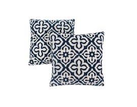 "Monarch Pillow  - 18""X 18"" / DARK BLUE MOTIF DESIGN / 2PCS"