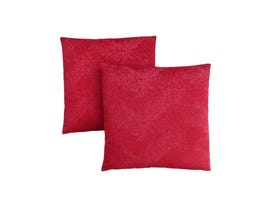 """Monarch Pillow  - 18""""X 18"""" / RED FEATHERED VELVET / 2PCS"""