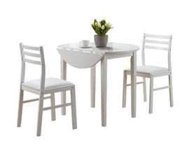 "Monarch Dining Set - 3Pcs Set White With A 36""Dia Drop Leaf I1008"
