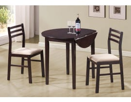 Monarch 3pc Dining Set with Drop Leaf in Cappuccino I1009