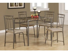Monarch DINING SET - 5PCS SET / CAPPUCCINO MARBLE / BRONZE METAL I1029
