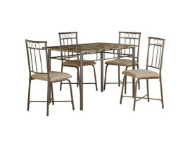 Monarch Specialties 5pc Dining Set in Cappuccino Marble/Bronze Metal I 1029